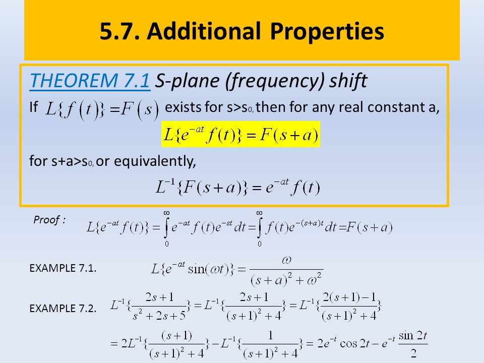 5.7. Additional Properties THEOREM 7.1 S-plane (frequency) shift If exists for s>s 0, then for any real constant a, for s+a>s 0, or equivalently, Proo