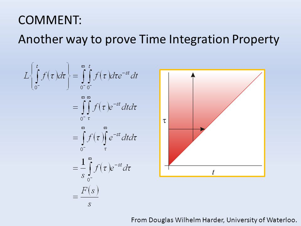 COMMENT: Another way to prove Time Integration Property From Douglas Wilhelm Harder, University of Waterloo.