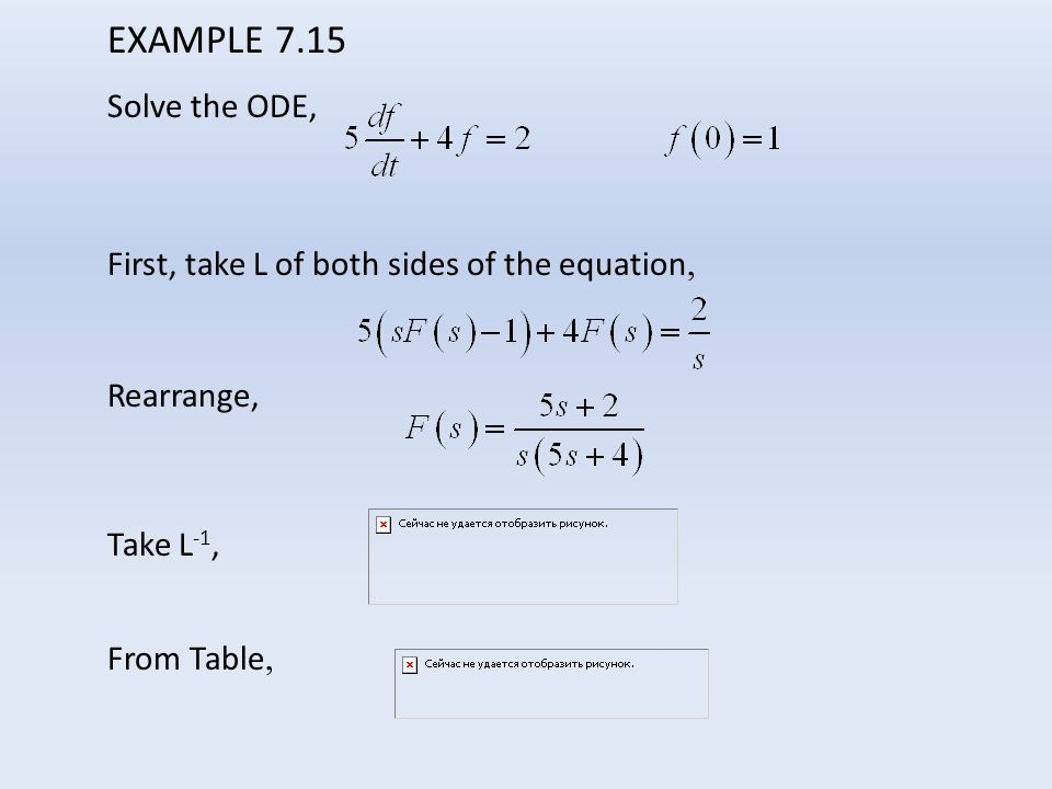 EXAMPLE 7.15 Solve the ODE, First, take L of both sides of the equation, Rearrange, Take L -1, From Table,