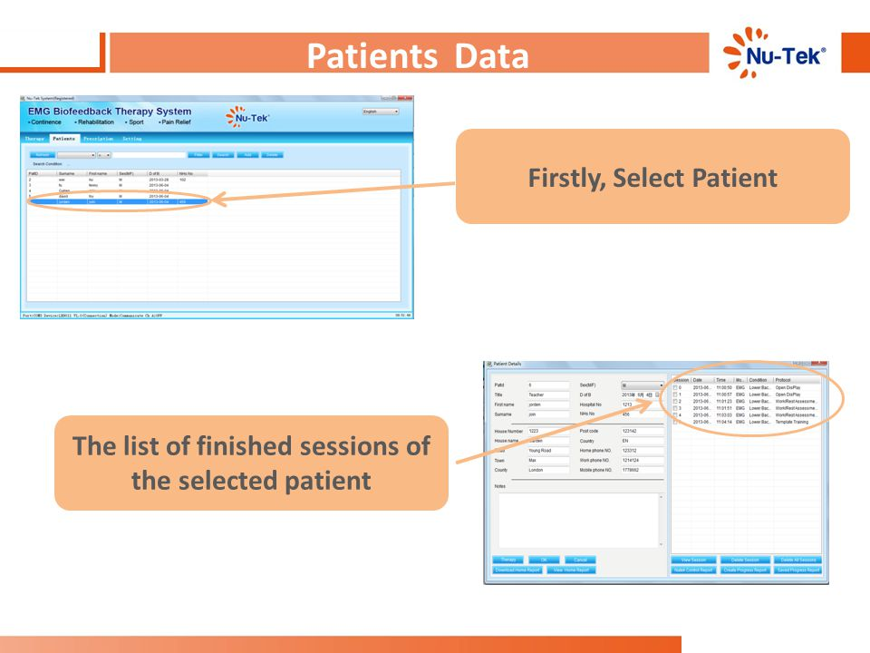 Patients Data : Choose Patient Firstly, Select Patient The list of finished sessions of the selected patient
