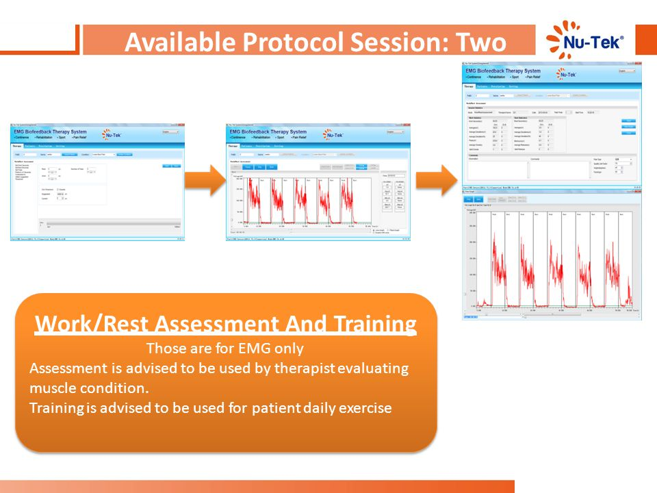 Available Protocol Session: Two Work/Rest Assessment And Training Those are for EMG only Assessment is advised to be used by therapist evaluating musc