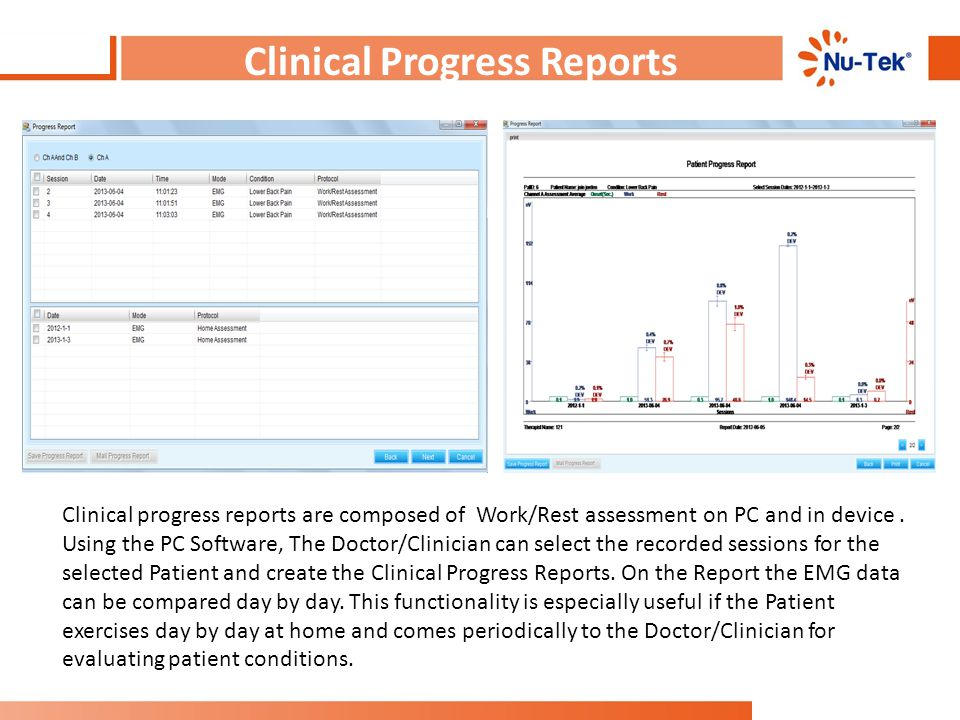 Clinical Progress Reports Clinical progress reports are composed of Work/Rest assessment on PC and in device. Using the PC Software, The Doctor/Clinic