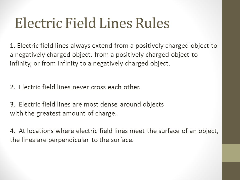 Electric Field Lines Rules 1. Electric field lines always extend from a positively charged object to a negatively charged object, from a positively ch