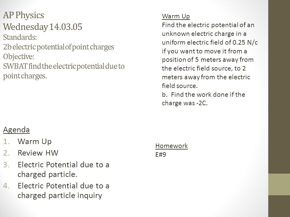 AP Physics Wednesday 14.03.05 Standards: 2b electric potential of point charges Objective: SWBAT find the electric potential due to point charges. Age
