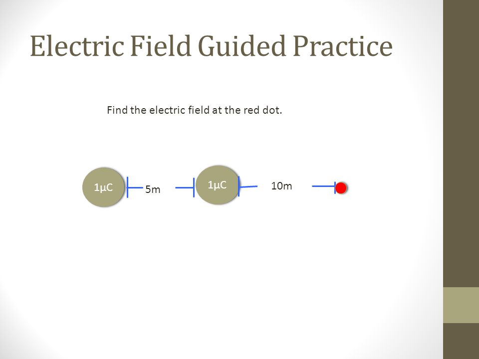 Electric Field Guided Practice 1μC 10m 1μC 5m Find the electric field at the red dot.