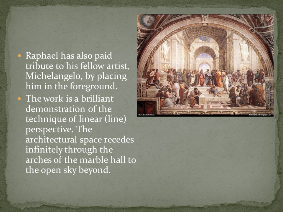 Raphael's famous fresco decorates a wall in the papal palace at the Vatican, in Rome. He depicts famous figures from various fields of knowledge, with