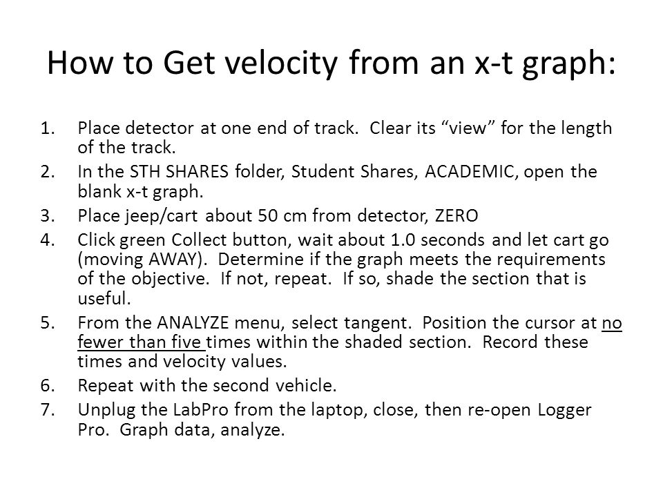 """How to Get velocity from an x-t graph: 1.Place detector at one end of track. Clear its """"view"""" for the length of the track. 2.In the STH SHARES folder,"""