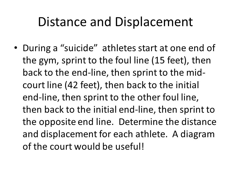 Distance and Displacement During a suicide athletes start at one end of the gym, sprint to the foul line (15 feet), then back to the end-line, then sprint to the mid- court line (42 feet), then back to the initial end-line, then sprint to the other foul line, then back to the initial end-line, then sprint to the opposite end line.