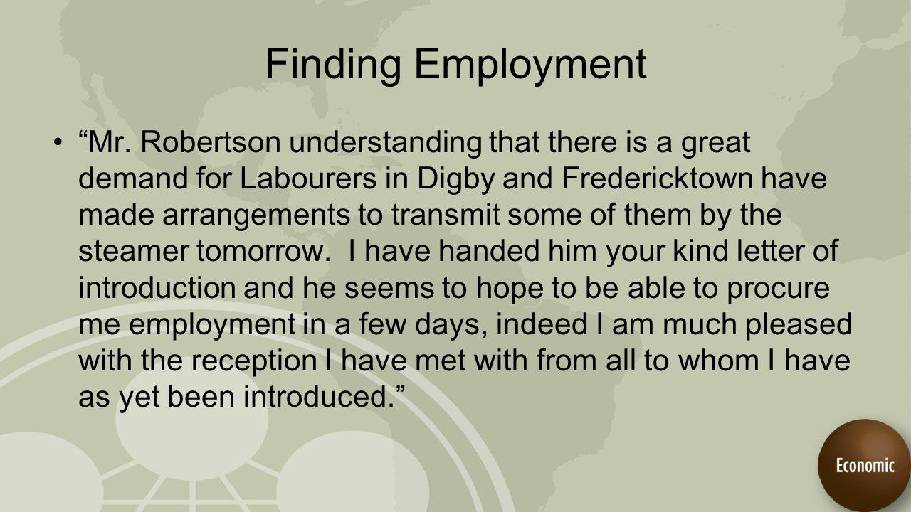 Finding Employment Mr.