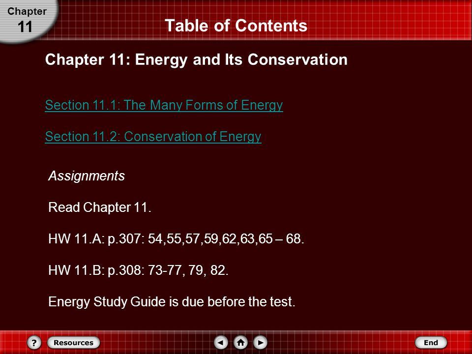 Table of Contents Chapter 11: Energy and Its Conservation Section 11.1: The Many Forms of Energy Section 11.2: Conservation of Energy Chapter 11 Assignments Read Chapter 11.