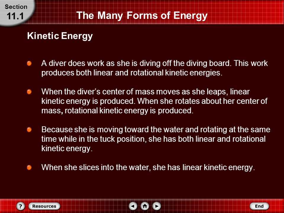 The Many Forms of Energy A diver does work as she is diving off the diving board.