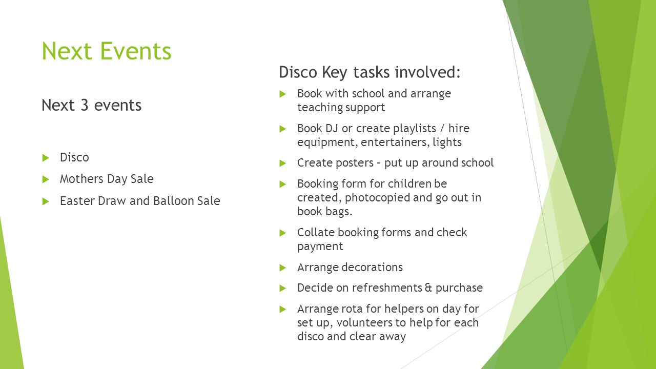 Next Events Next 3 events  Disco  Mothers Day Sale  Easter Draw and Balloon Sale Disco Key tasks involved:  Book with school and arrange teaching support  Book DJ or create playlists / hire equipment, entertainers, lights  Create posters – put up around school  Booking form for children be created, photocopied and go out in book bags.