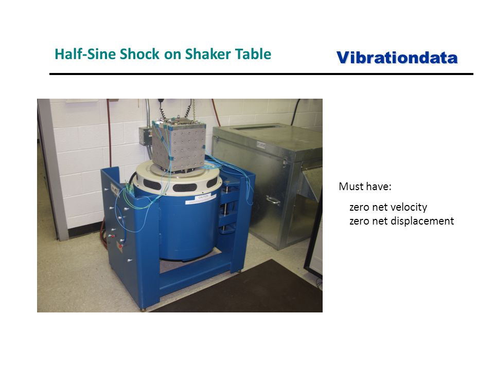 Half-Sine Shock on Shaker Table Vibrationdata Must have: zero net velocity zero net displacement