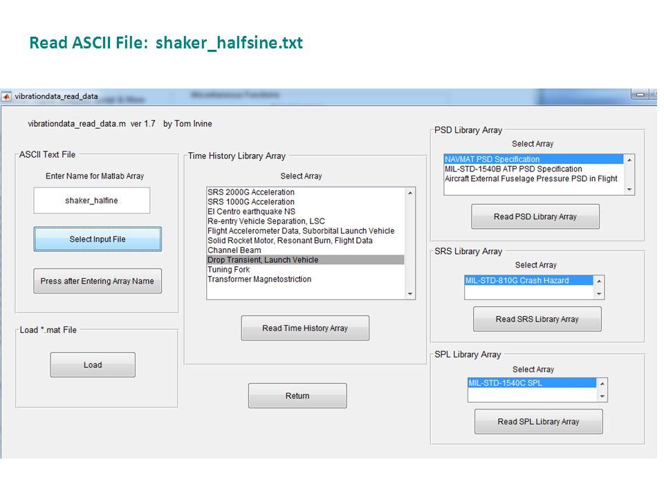 Read ASCII File: shaker_halfsine.txt