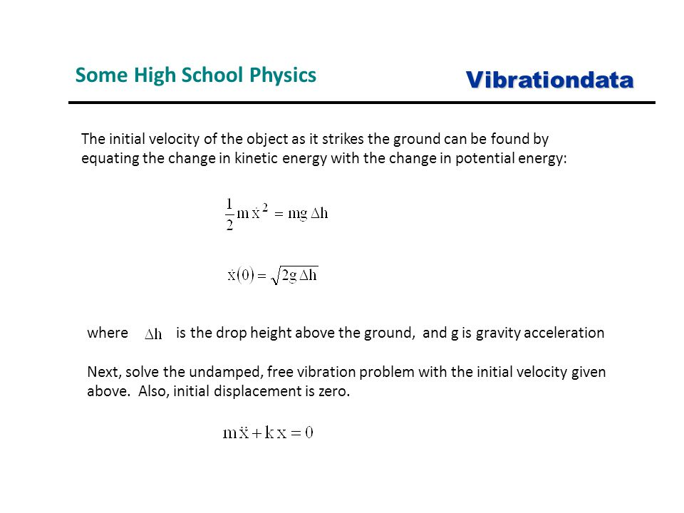 where is the drop height above the ground, and g is gravity acceleration Next, solve the undamped, free vibration problem with the initial velocity gi