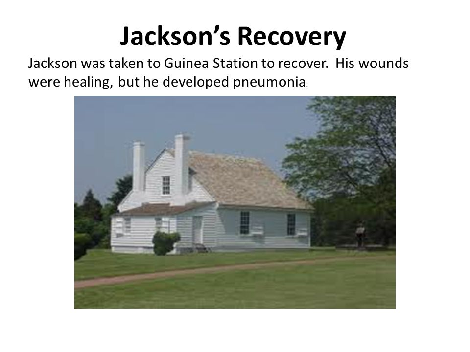 Jackson's Recovery Jackson was taken to Guinea Station to recover.