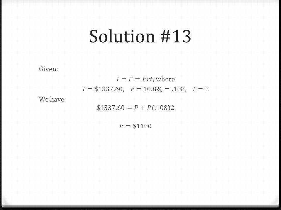Solution #13