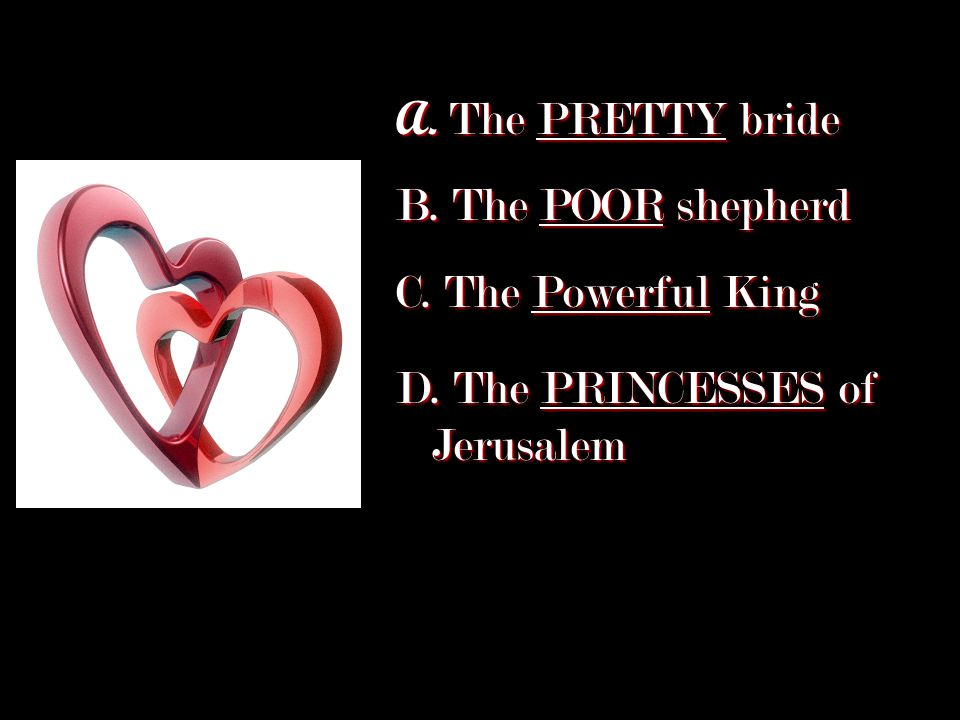 A. The PRETTY bride B. The POOR shepherd C. The Powerful King D. The PRINCESSES of Jerusalem