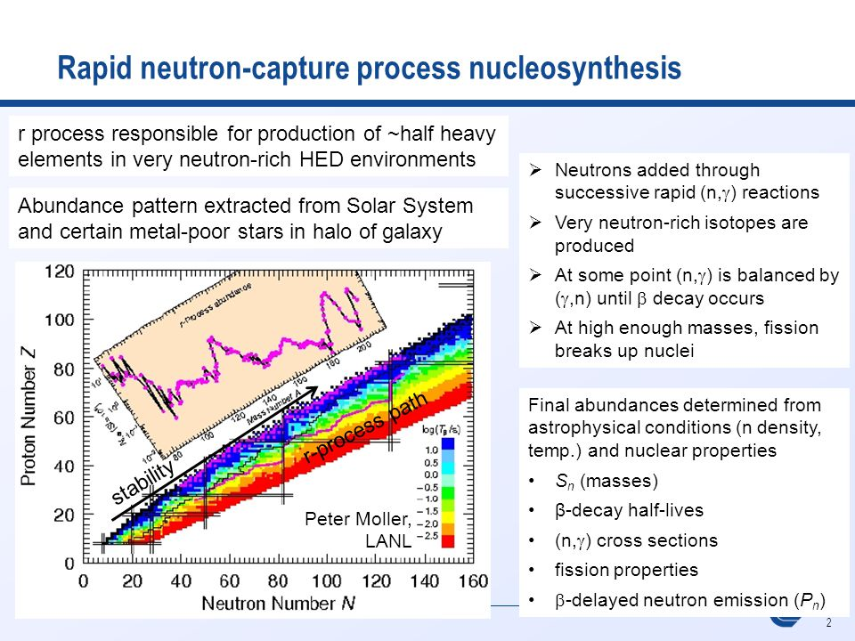 2 Lawrence Livermore National Laboratory Rapid neutron-capture process nucleosynthesis Peter Moller, LANL  Neutrons added through successive rapid (n,  ) reactions  Very neutron-rich isotopes are produced  At some point (n,  ) is balanced by ( ,n) until  decay occurs  At high enough masses, fission breaks up nuclei stability r-process path Final abundances determined from astrophysical conditions (n density, temp.) and nuclear properties S n (masses) β-decay half-lives (n,  ) cross sections fission properties  -delayed neutron emission (P n ) r process responsible for production of ~half heavy elements in very neutron-rich HED environments Abundance pattern extracted from Solar System and certain metal-poor stars in halo of galaxy