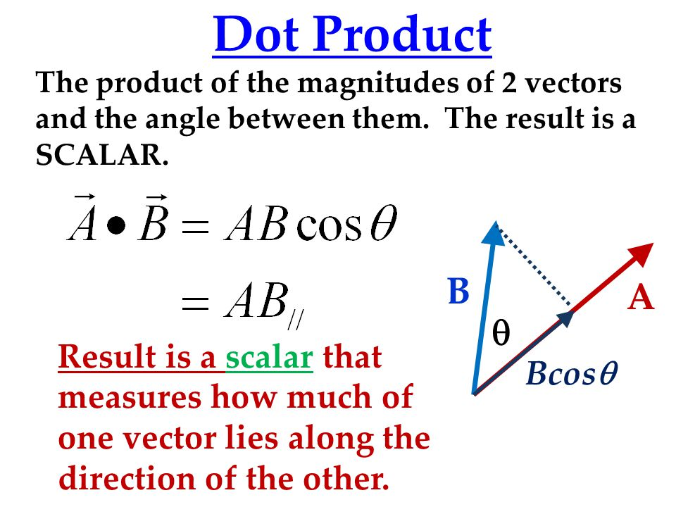 Dot Product The product of the magnitudes of 2 vectors and the angle between them.