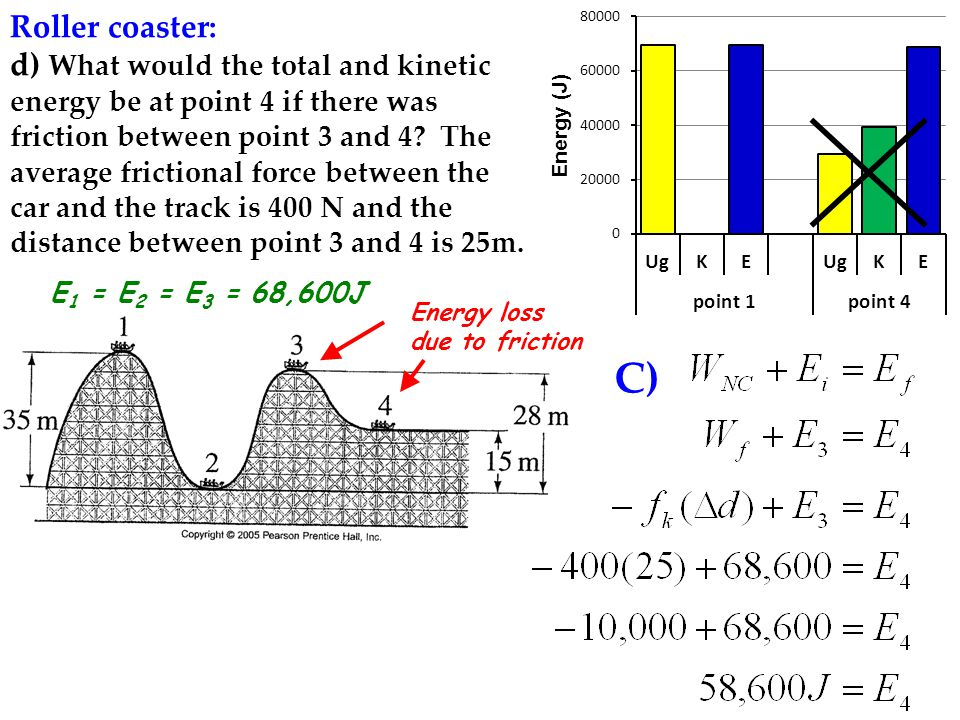 Roller coaster: d) What would the total and kinetic energy be at point 4 if there was friction between point 3 and 4.