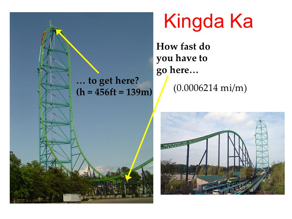 How fast do you have to go here… … to get here? (h = 456ft = 139m) (0.0006214 mi/m) Kingda Ka