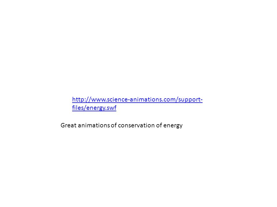 http://www.science-animations.com/support- files/energy.swf Great animations of conservation of energy