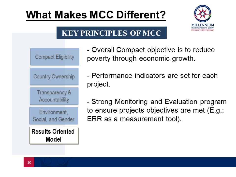 10 Compact Eligibility Country Ownership What Makes MCC Different.
