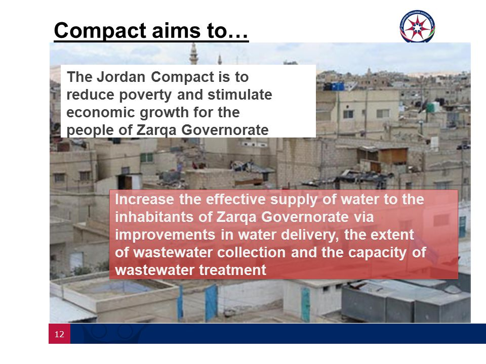 12 Compact aims to… The Jordan Compact is to reduce poverty and stimulate economic growth for the people of Zarqa Governorate Increase the effective supply of water to the inhabitants of Zarqa Governorate via improvements in water delivery, the extent of wastewater collection and the capacity of wastewater treatment