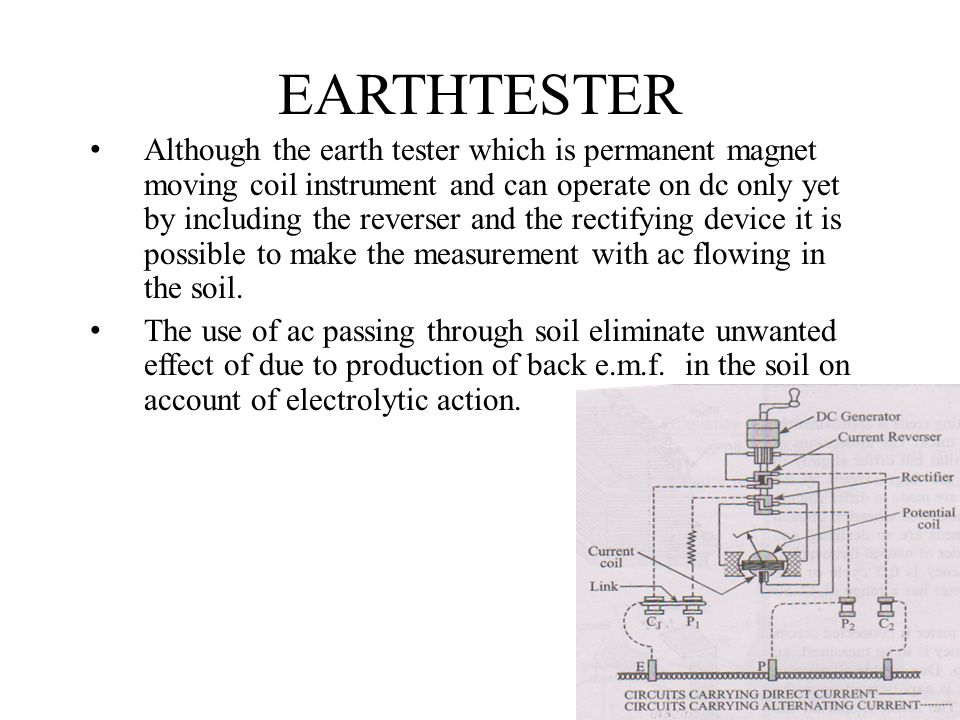 EARTHTESTER Although the earth tester which is permanent magnet moving coil instrument and can operate on dc only yet by including the reverser and th