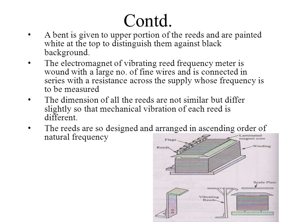 Contd. A bent is given to upper portion of the reeds and are painted white at the top to distinguish them against black background. The electromagnet