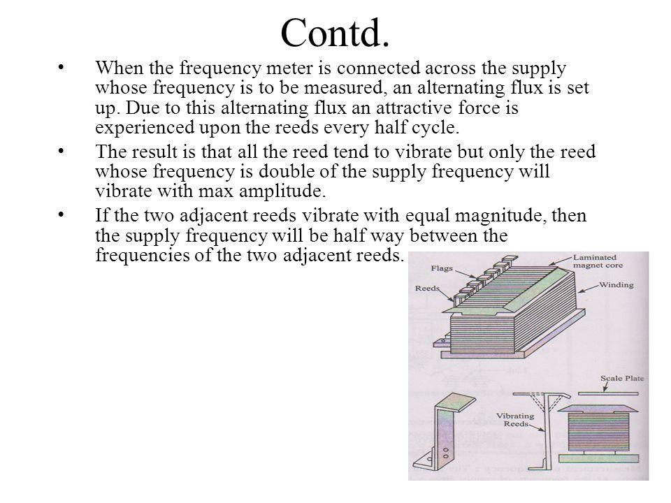 Contd. When the frequency meter is connected across the supply whose frequency is to be measured, an alternating flux is set up. Due to this alternati