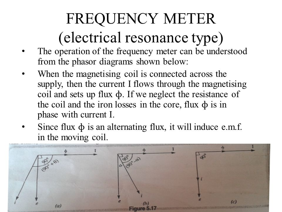 FREQUENCY METER (electrical resonance type) The operation of the frequency meter can be understood from the phasor diagrams shown below: When the magn