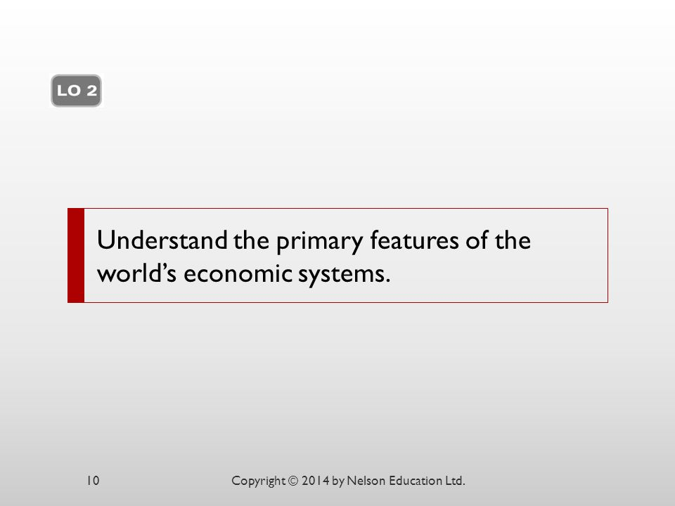 Understand the primary features of the world's economic systems. Copyright © 2014 by Nelson Education Ltd.10