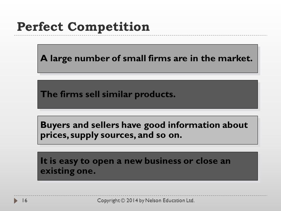 Perfect Competition Copyright © 2014 by Nelson Education Ltd.16 A large number of small firms are in the market. The firms sell similar products. It i