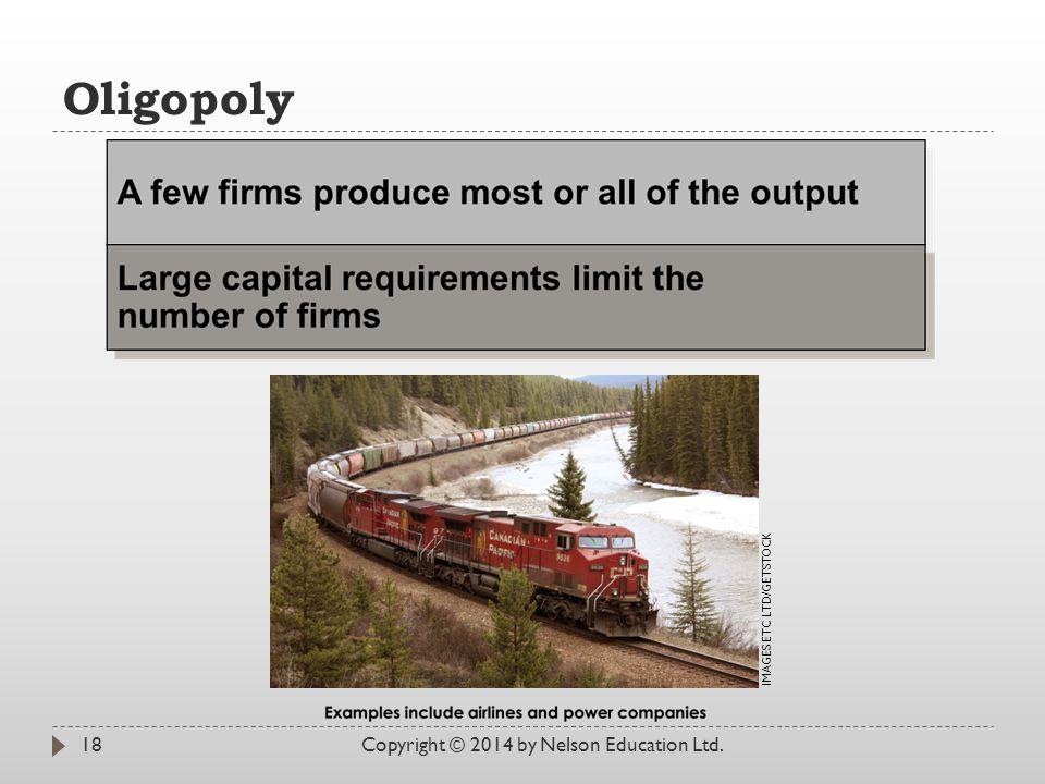 Oligopoly Copyright © 2014 by Nelson Education Ltd.18 IMAGES ETC LTD/GETSTOCK