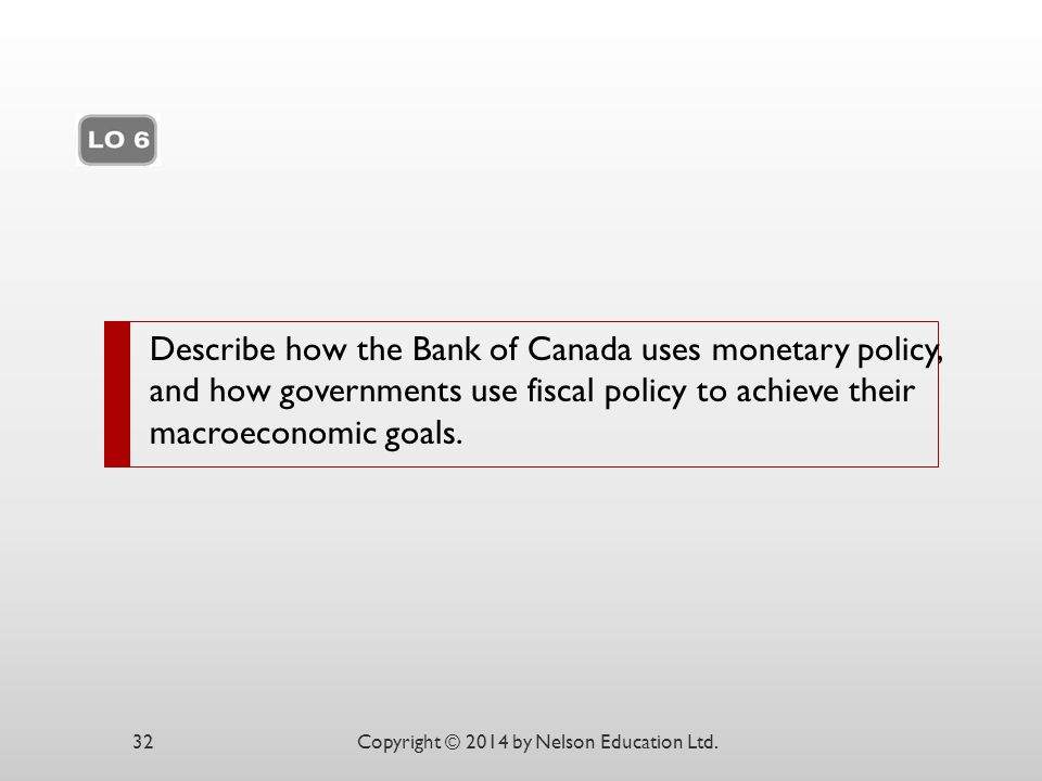 Describe how the Bank of Canada uses monetary policy, and how governments use fiscal policy to achieve their macroeconomic goals. Copyright © 2014 by