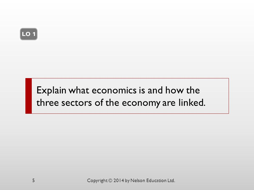 Explain what economics is and how the three sectors of the economy are linked. Copyright © 2014 by Nelson Education Ltd.5