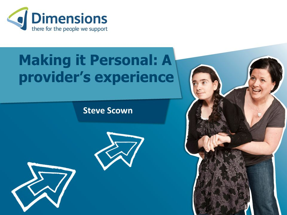 Dimensions Support adults, young people and children with learning disabilities and who experience autism Support just over 2500 people We offer support via RCH / GLS / SLS / Day Services / Short Breaks and employment training and preparation Work in 71 Local Authority areas Employ approximately 3800 staff Budgeted turnover in 12/13 of £125m