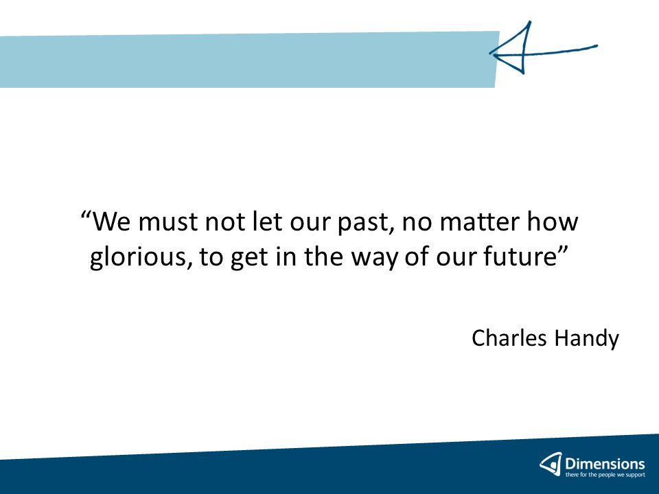 We must not let our past, no matter how glorious, to get in the way of our future Charles Handy