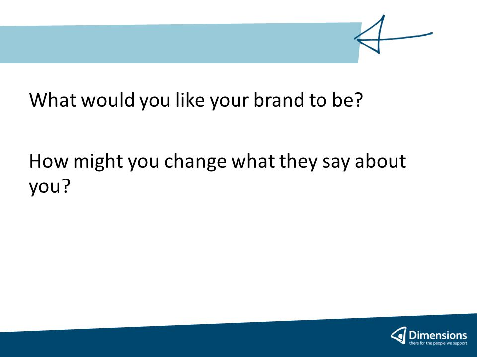 What would you like your brand to be How might you change what they say about you
