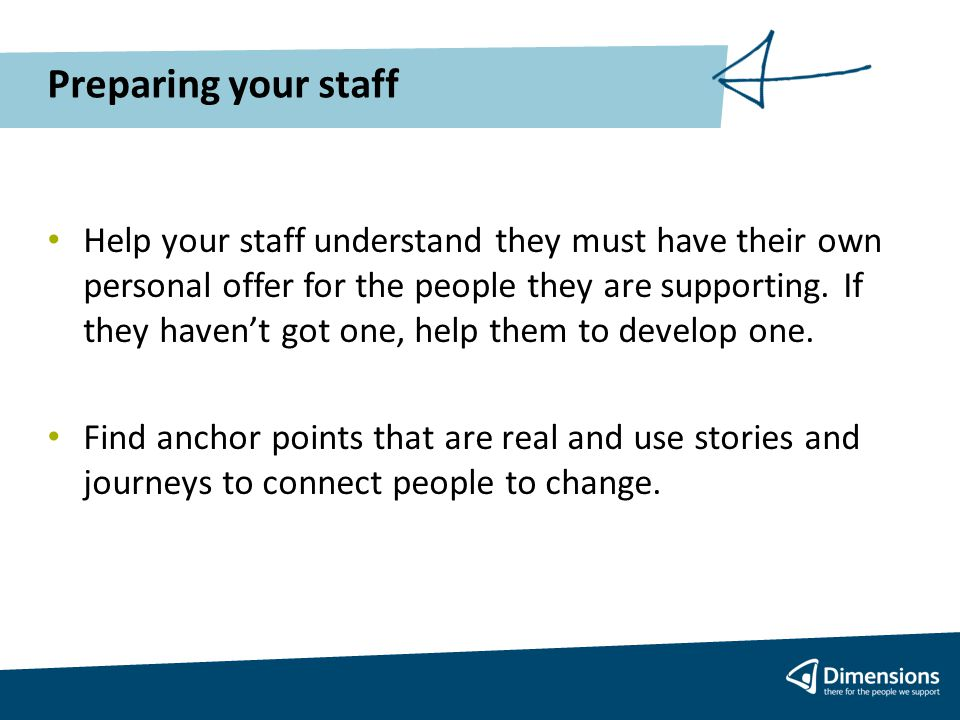 Preparing your staff Help your staff understand they must have their own personal offer for the people they are supporting.