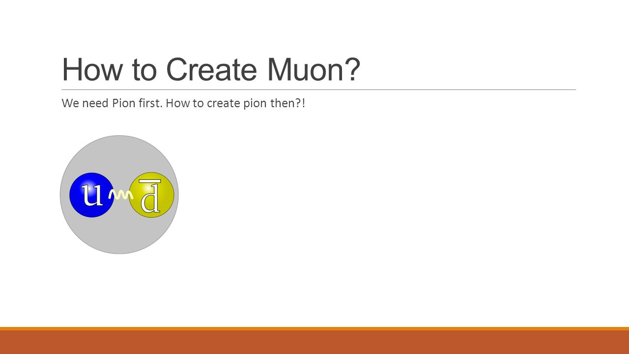 How to Create Muon We need Pion first. How to create pion then !