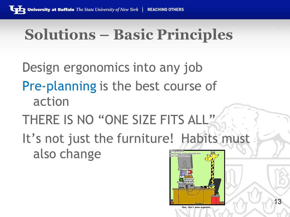 Solutions – Basic Principles Design ergonomics into any job Pre-planning is the best course of action THERE IS NO ONE SIZE FITS ALL It's not just the furniture.