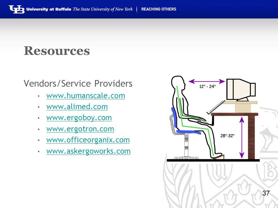 Resources Vendors/Service Providers www.humanscale.com www.alimed.com www.ergoboy.com www.ergotron.com www.officeorganix.com www.askergoworks.com 37