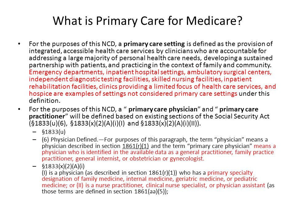 What is Primary Care for Medicare.