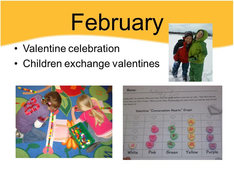 February Valentine celebration Children exchange valentines