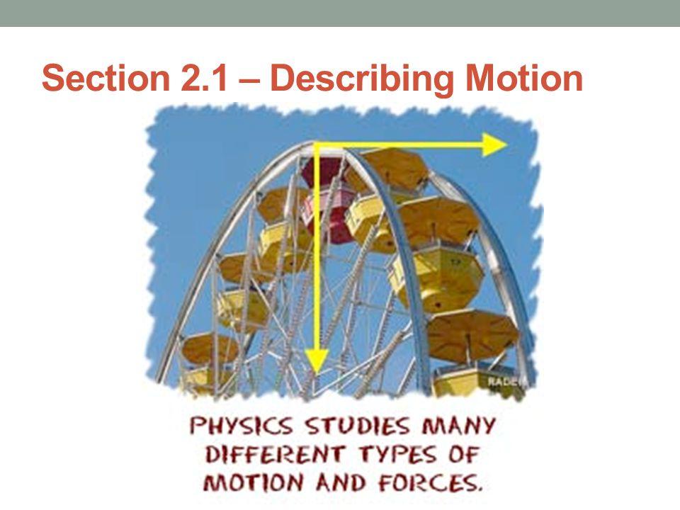 Section 2.1 – Describing Motion