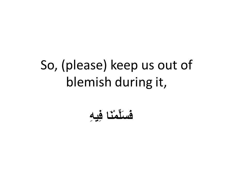 So, (please) keep us out of blemish during it, فَسَلِّمْنَا فِيهِ