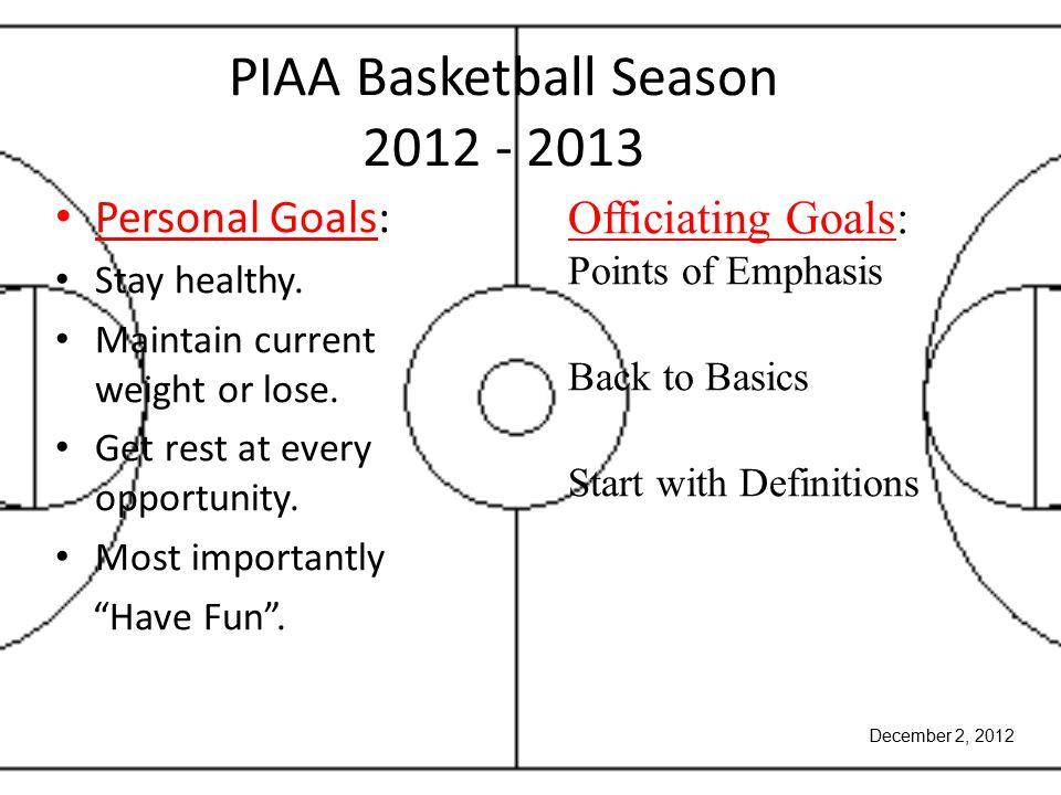 PIAA Basketball Season 2012 - 2013 Personal Goals: Stay healthy.
